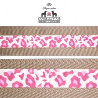 MARTINGALE DOG COLLAR - CLASSIC ANIMAL PRINT LEOPARD PINK (RIBBON 16mm)